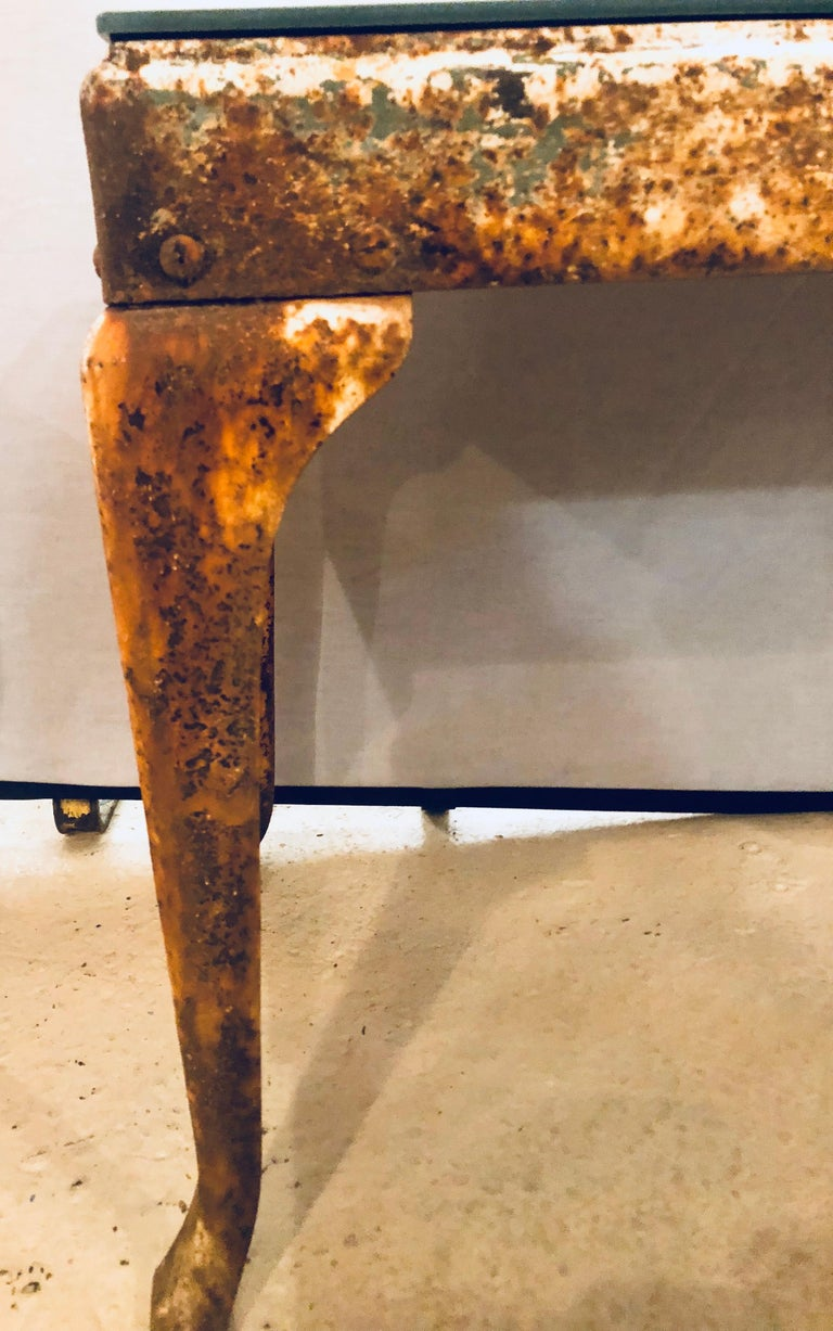 Antique Industrial End or Side Table with Mirror Top For Sale 1