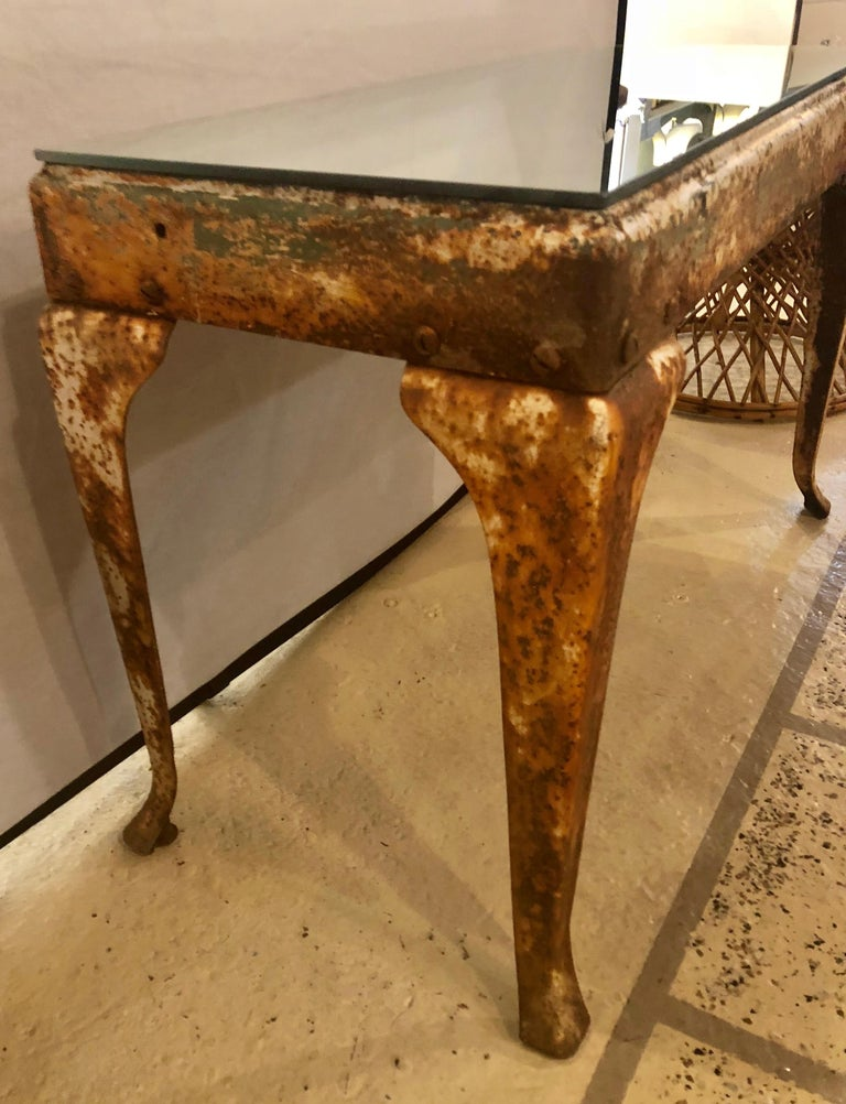 Antique Industrial End or Side Table with Mirror Top For Sale 2