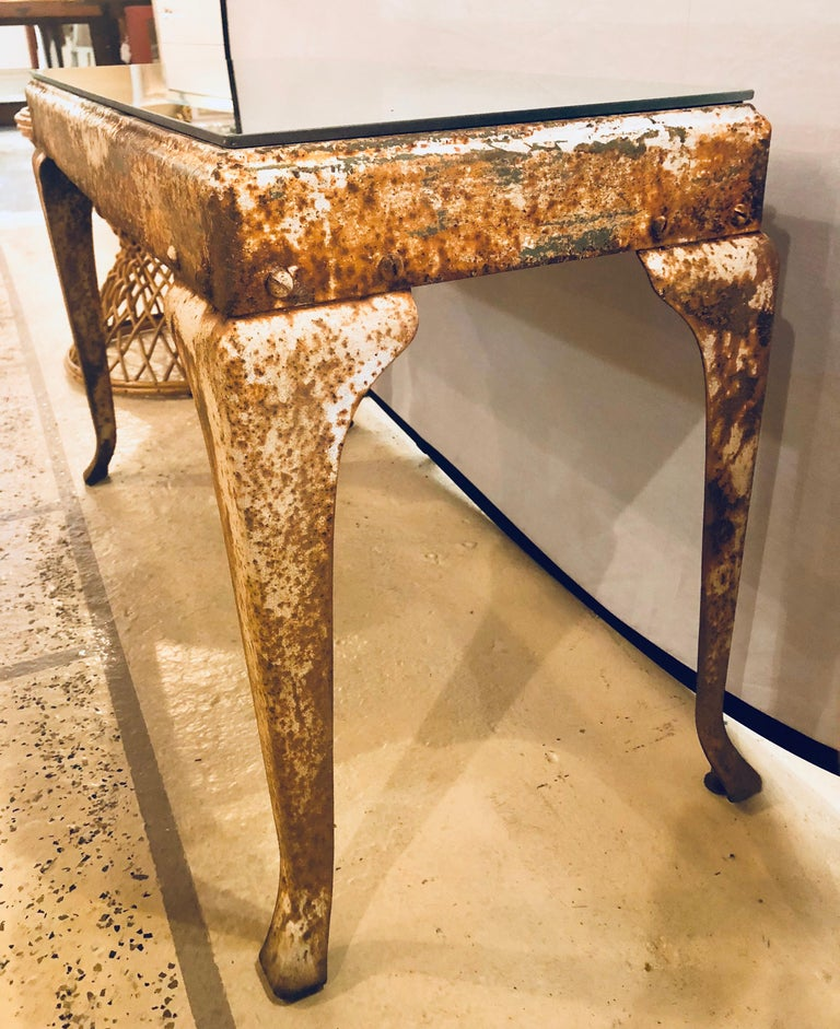 Antique Industrial End or Side Table with Mirror Top For Sale 4