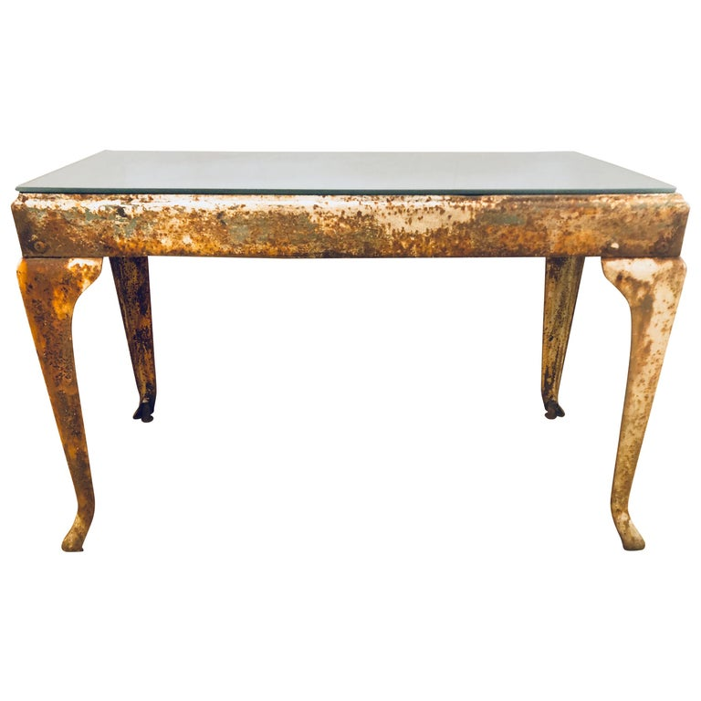 Antique Industrial End or Side Table with Mirror Top For Sale