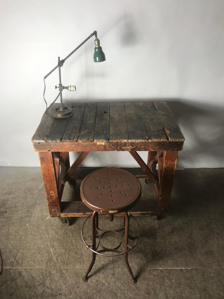 Hand-Crafted Antique Industrial Factory Work Table on Iron Castors For Sale
