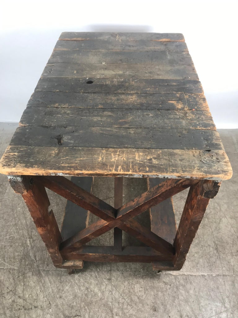 Mid-20th Century Antique Industrial Factory Work Table on Iron Castors For Sale