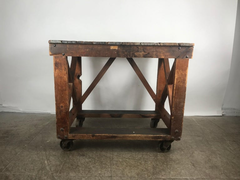 Wood Antique Industrial Factory Work Table on Iron Castors For Sale