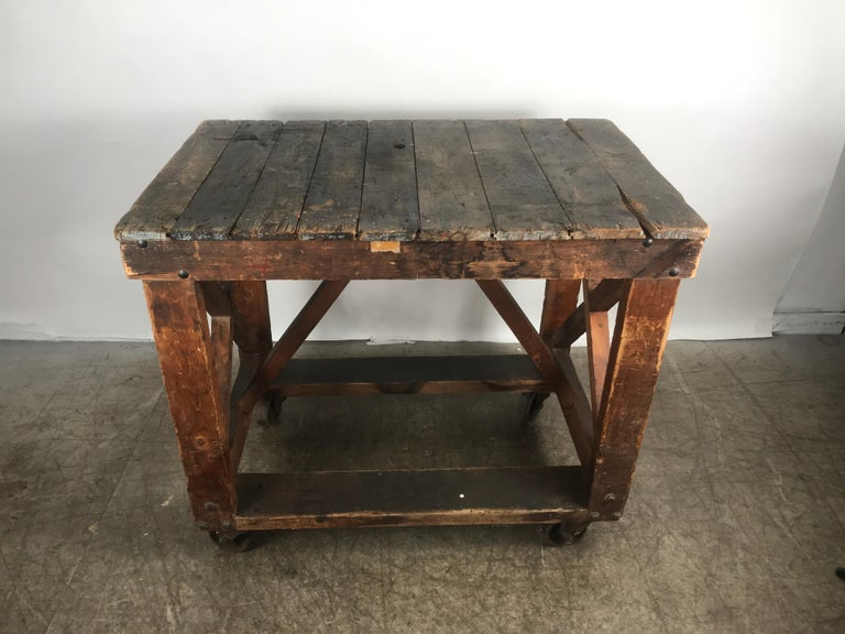 Antique Industrial Factory Work Table on Iron Castors For Sale 1