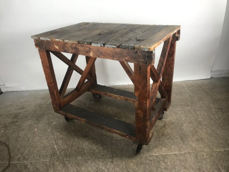 Antique Industrial Factory Work Table on Iron Castors For Sale 2