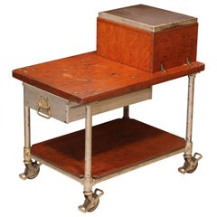 Antique Industrial Factory Workers Rolling Cart
