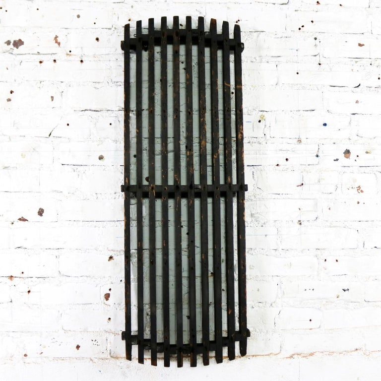 Incredible antique handmade wood industrial foundry pattern. A single long narrow slatted form. This was created to make the sand cast molds for casting an iron sewage grates or other type grill. It is in wonderful antique condition with fabulous