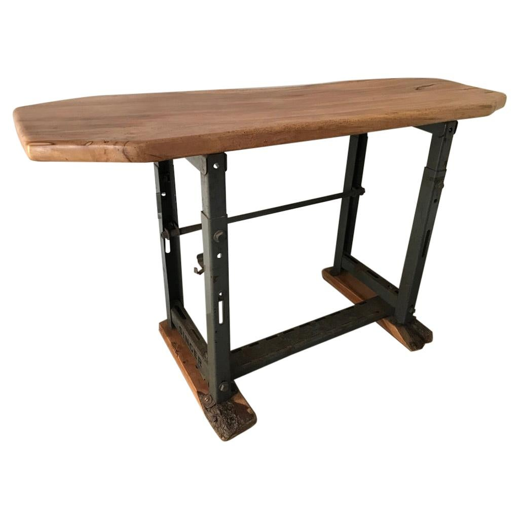 Antique Industrial Iron Hall Table from Singer, 1920s with Wooden Top and Base