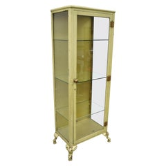 Antique Industrial Metal and Glass Medical Storage Dental Tall Bathroom Cabinet