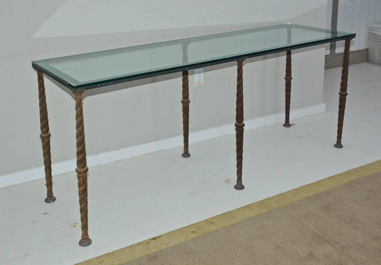 Metal base made from antique iron balustrades with twist pattern. Can be used with stone top as well. Great size for console table, desk, sofa table or entry foyer table.