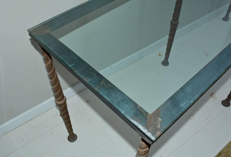 Neoclassical Revival Antique Industrial Metal Base Console Table or Desk For Sale