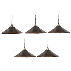 Antique Industrial Mirrored Reflector Shade Pendants '5'
