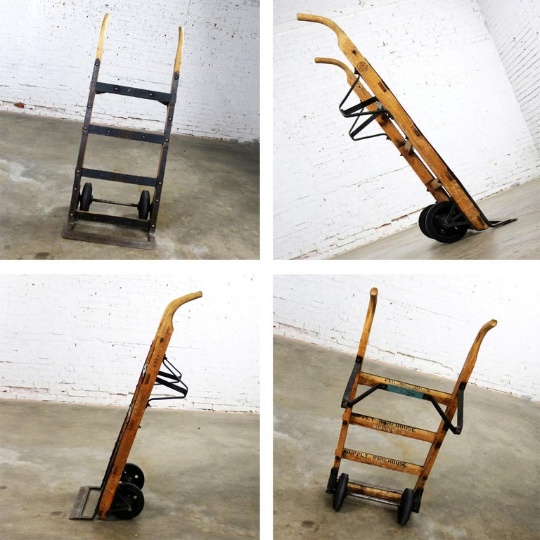 Antique Industrial Oak And Iron Hand Truck Trolley Marked