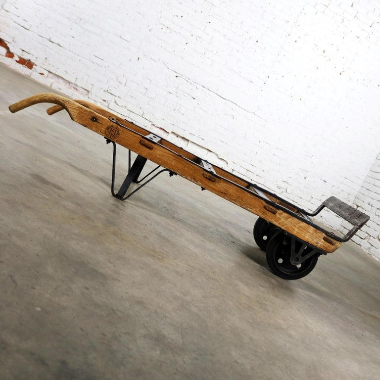 Antique Industrial Oak and Iron Hand Truck Trolley Marked ...