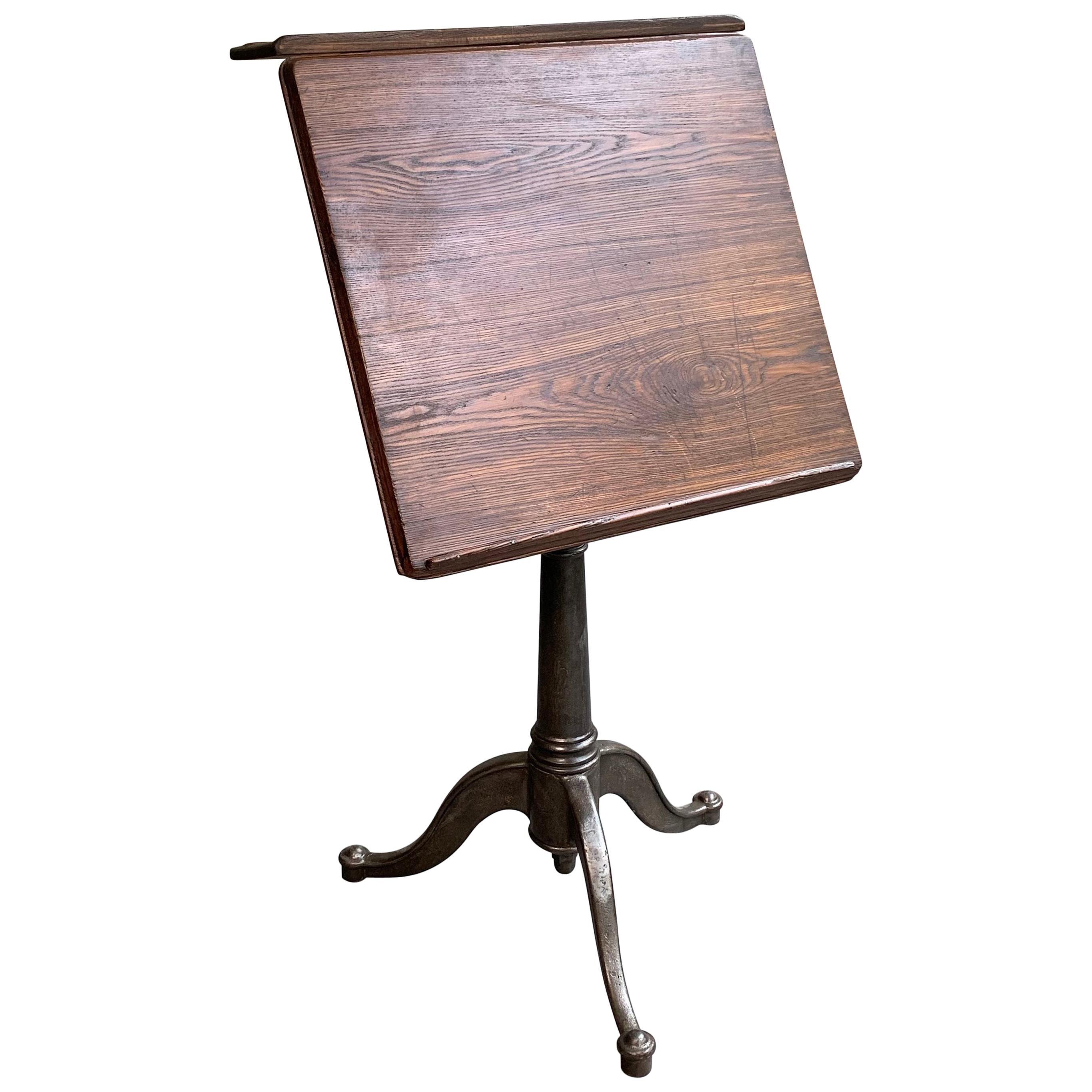 Antique Industrial Oak Artist Rendering Easel with Cast Iron Pedestal Base