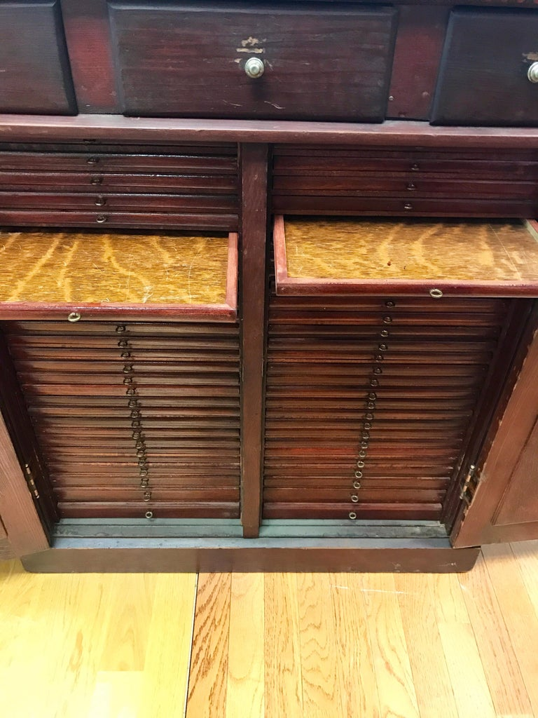 Antique Industrial Printers Flat File Map Cabinet For Sale