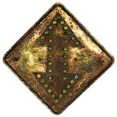 Antique Industrial Reflective Double Arrow Steel Road Sign
