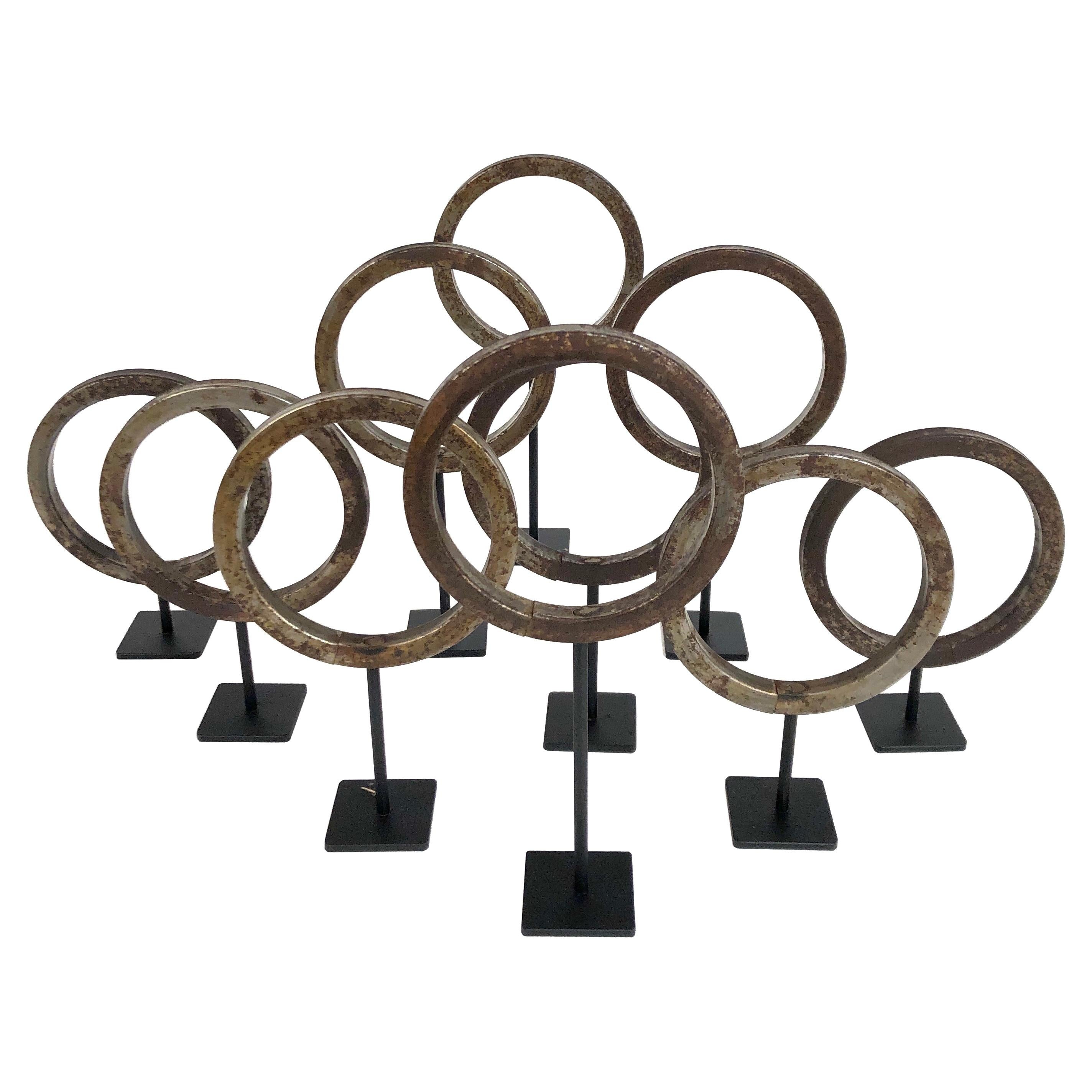 Antique Industrial Steel Ring Collection on Custom Stands '10'