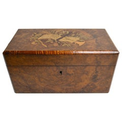 Antique Inlaid Briarwood Tea Caddy with Fitted Interior