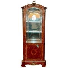 Antique Inlaid Display Cabinet Kingwood with Bronze Mounts C. 1880 Napoleon III