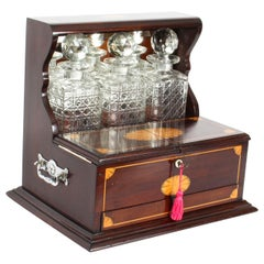 Antique Inlaid Flame Mahogany Three Crystal Decanter Tantalus Early 20th Century