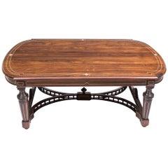 Antique Inlaid Gonçalo Alves Inlaid Coffee Table, 19th Century