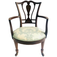 Antique Inlaid Mahogany Armchair