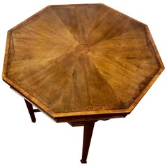 Antique Inlaid Mahogany Burr Elm and Satinwood Occasional Table
