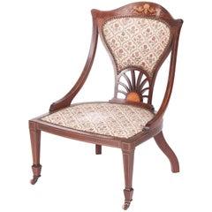 Antique Inlaid Mahogany Ladies Chair