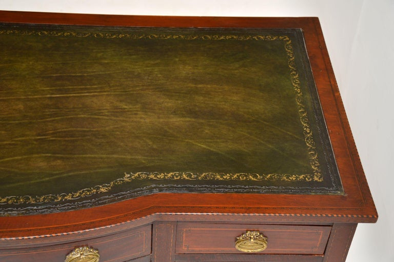 Antique Inlaid Mahogany Leather Top Desk 4