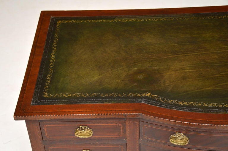 Antique Inlaid Mahogany Leather Top Desk 5