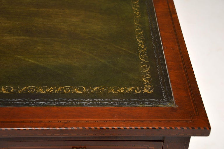 Antique Inlaid Mahogany Leather Top Desk 6