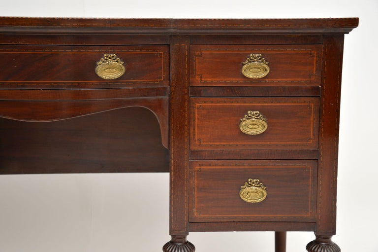 English Antique Inlaid Mahogany Leather Top Desk