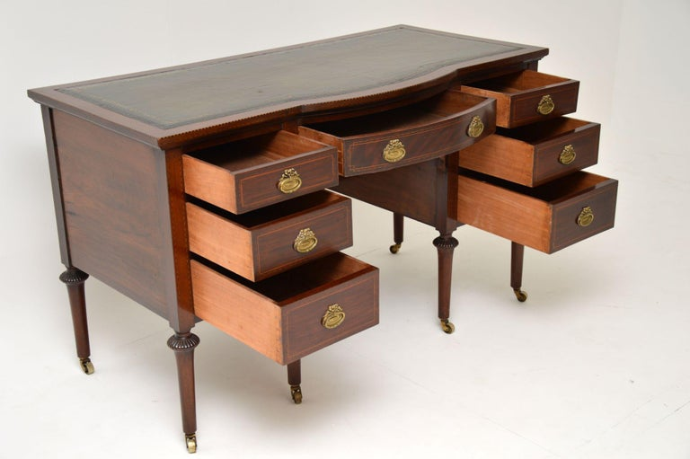 Early 20th Century Antique Inlaid Mahogany Leather Top Desk