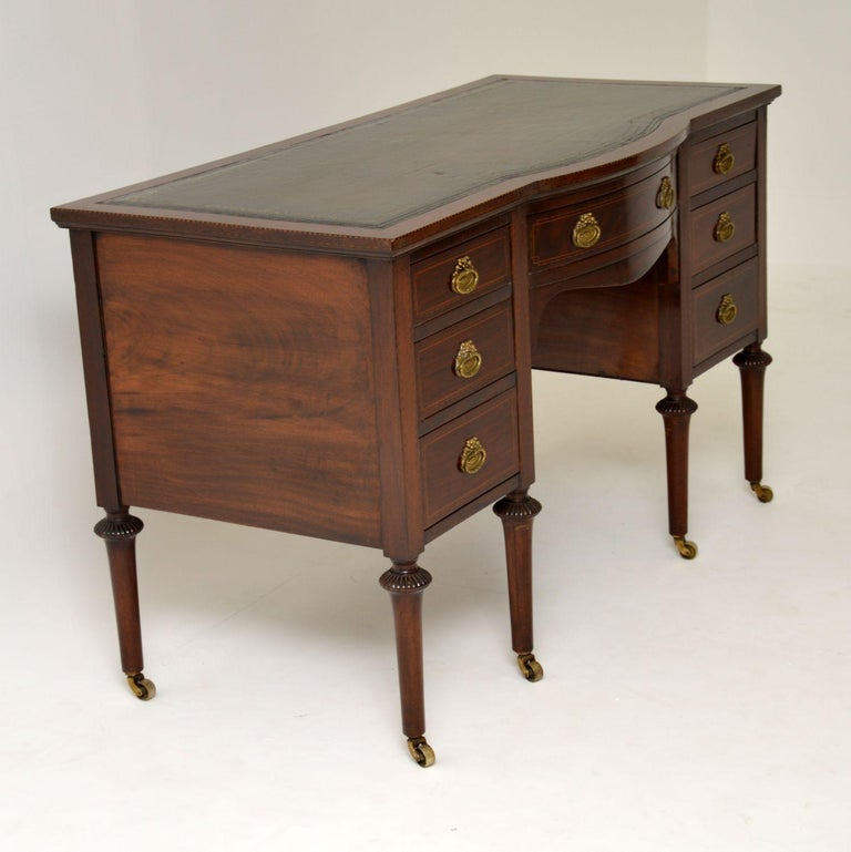 Antique Inlaid Mahogany Leather Top Desk 1