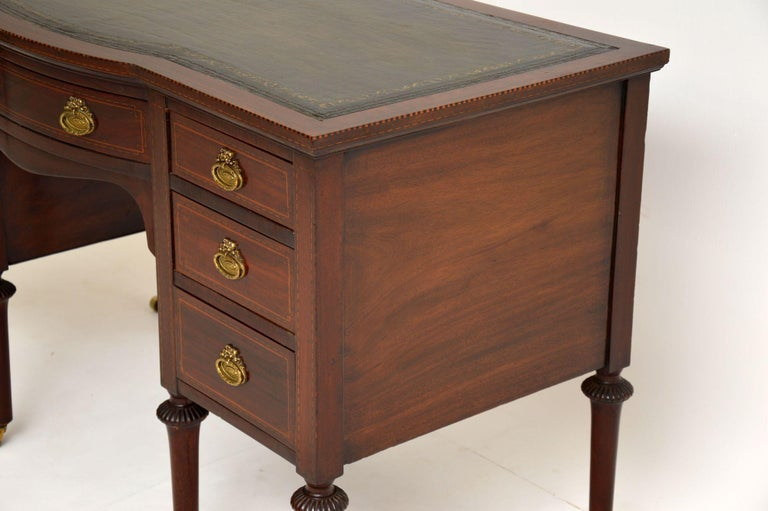Antique Inlaid Mahogany Leather Top Desk 2