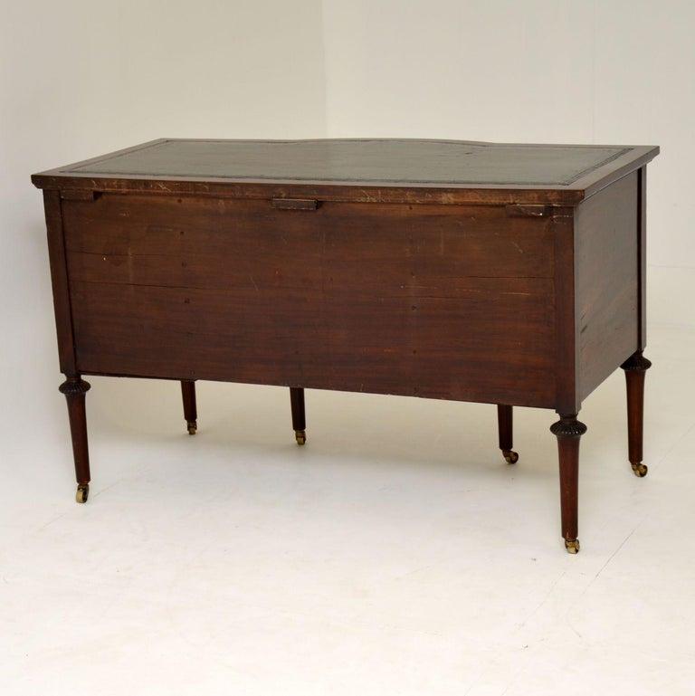 Antique Inlaid Mahogany Leather Top Desk 3