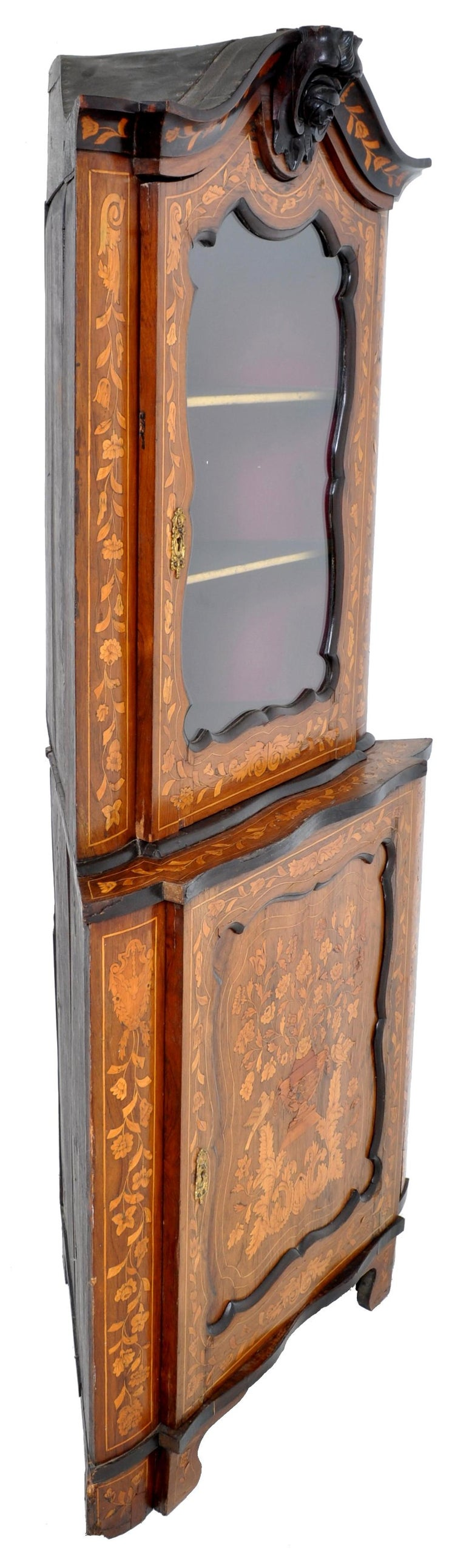 Antique Inlaid Marquetry Dutch Two-Piece Corner Cabinet, circa 1830 For Sale 6