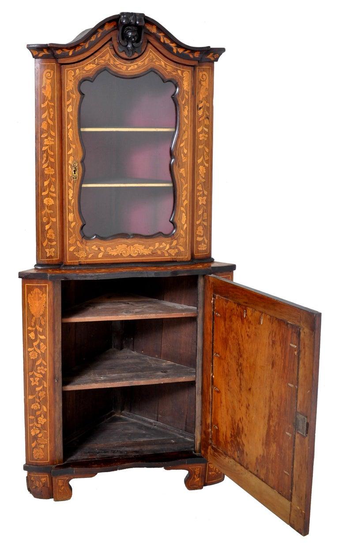 Baroque Antique Inlaid Marquetry Dutch Two-Piece Corner Cabinet, circa 1830 For Sale