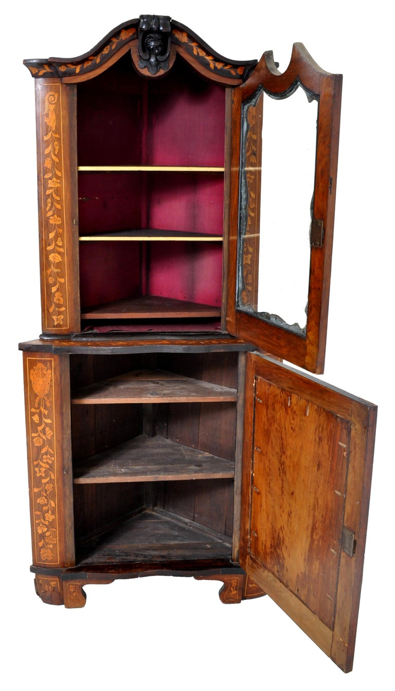 Inlay Antique Inlaid Marquetry Dutch Two-Piece Corner Cabinet, circa 1830 For Sale
