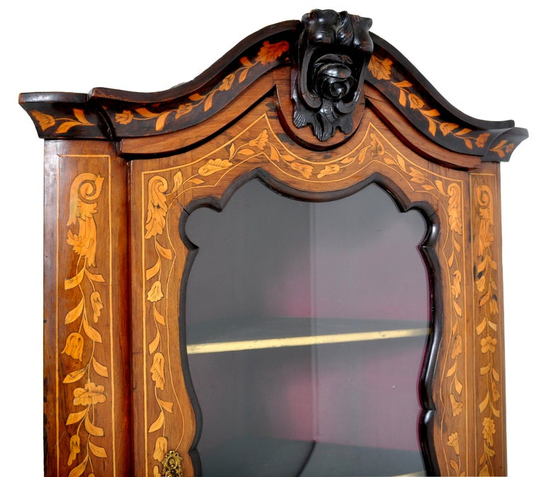 19th Century Antique Inlaid Marquetry Dutch Two-Piece Corner Cabinet, circa 1830 For Sale