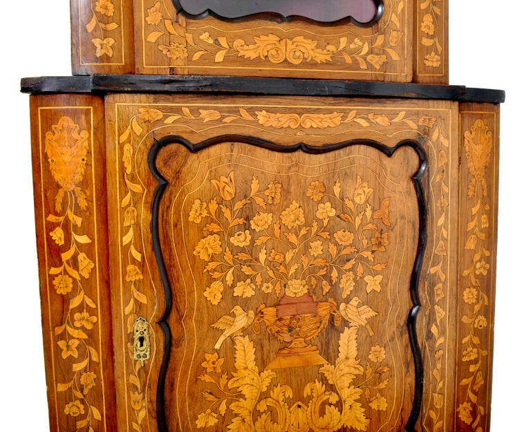Satinwood Antique Inlaid Marquetry Dutch Two-Piece Corner Cabinet, circa 1830 For Sale