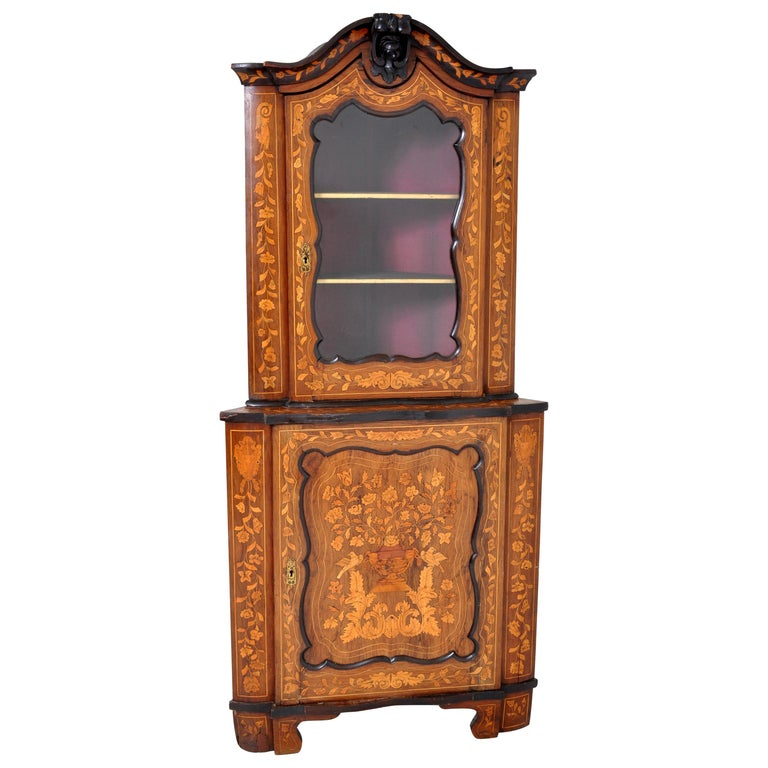 Antique Inlaid Marquetry Dutch Two-Piece Corner Cabinet, circa 1830 For Sale