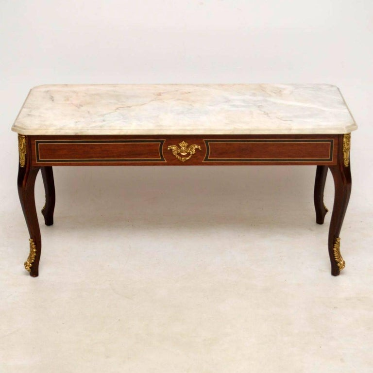 Marble Coffee Table Antique: Antique Inlaid Rosewood Marble Top Coffee Table At 1stdibs