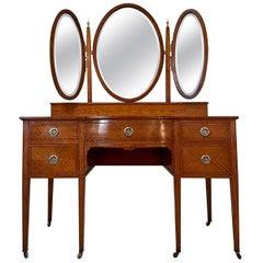 Antique Inlaid Satinwood Dressing/Vanity Table