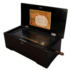 Antique Inlaid Swiss 8-Tune Cylinder Music Box, circa 1880