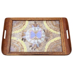 Antique Inlaid Tunbridge Ware Butterfly Serving Tray, circa 1920