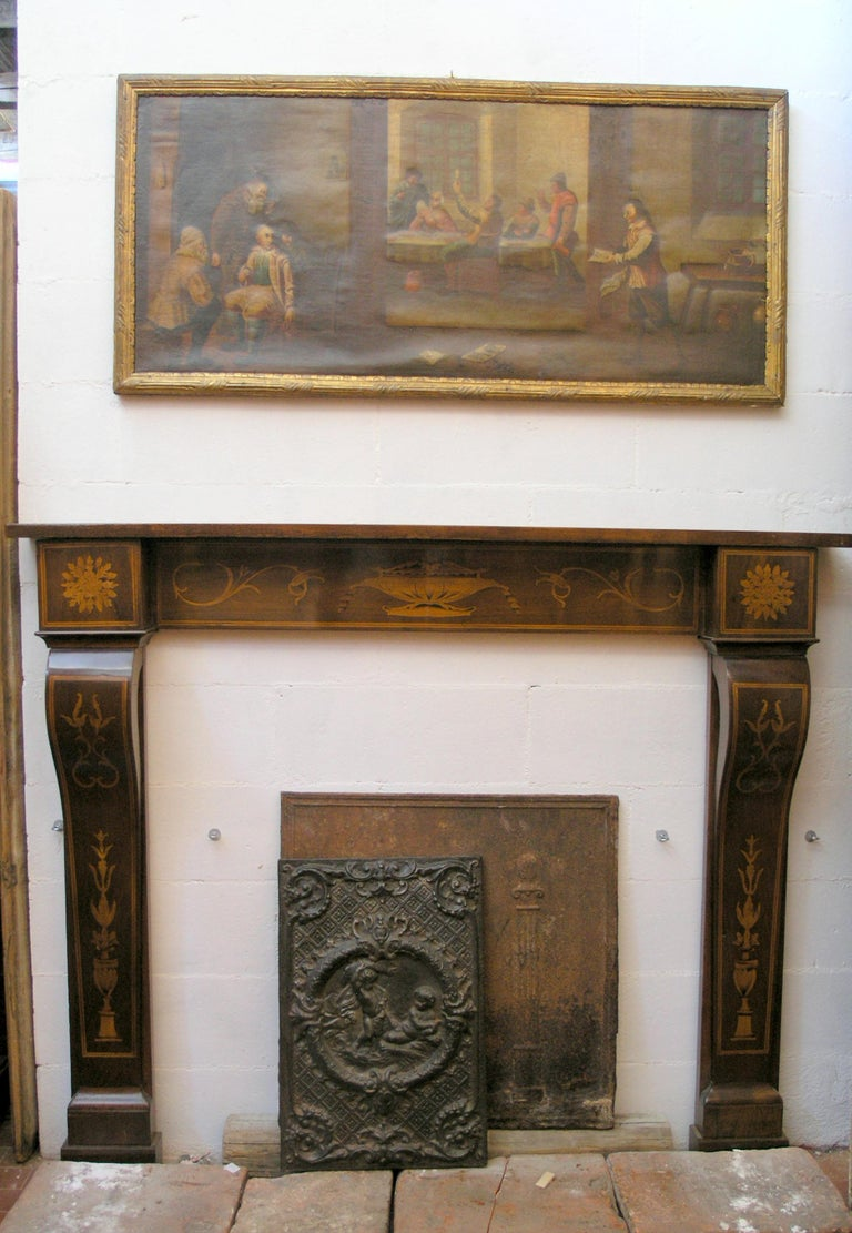 Antique Inlaided Walnut Wood Fireplace Mantel 19th c.