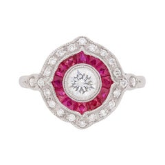 Antique-Inspired Diamond and Ruby Target Ring