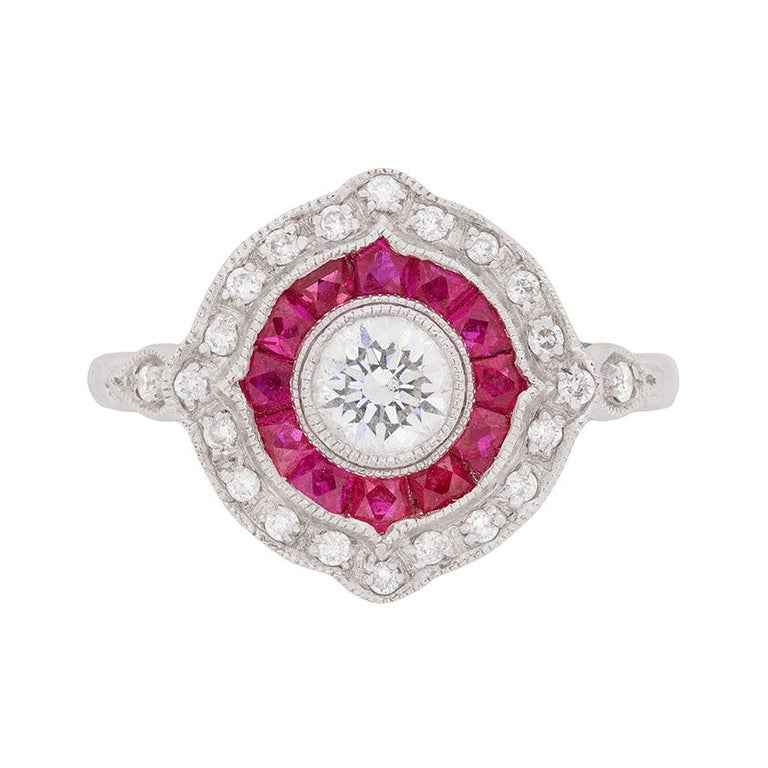 Antique Inspired Diamond And Ruby Target Ring For Sale At